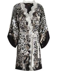 Roberto Cavalli Lace-trimmed Printed Silk-blend Satin Robe - White
