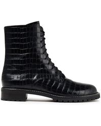Reformation Croc-effect Leather Ankle Boots - Black