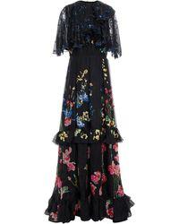 Valentino Tiered Embellished Silk-organza Gown - Black