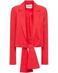 Mara Hoffman Cataline Knotted And Linen-blend Blazer Tomato Red