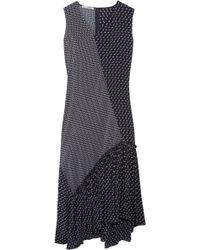 Stella McCartney - Asymmetric Patchwork-effect Printed Silk Midi Dress - Lyst