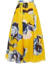 Carolina Herrera Pleated Floral-print Silk-organza Maxi Skirt - Yellow