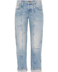 Current/Elliott - The Patchwork Crossover Mid-rise Straight-leg Jeans Light Denim - Lyst