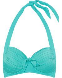Seafolly - Knotted Pleated Halterneck Bikini Top - Lyst