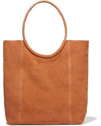 Iris & Ink Iata Leather-trimmed Suede Tote Tan - Brown