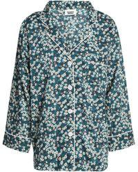 Sleepy Jones - Floral-print Cotton-poplin Pajama Top Dark Green - Lyst