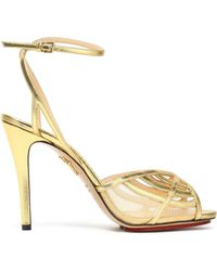 Charlotte Olympia - Metallic Leather And Mesh Sandals - Lyst