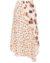 Self-Portrait Wrap-effect Ruffled Floral-print Jacquard Midi Skirt - Multicolour