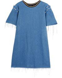 Mother Of Pearl   Lloyd Frayed Embellished Denim Mini Dress   Lyst