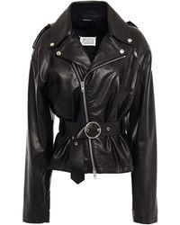 Maison Margiela Belted Leather Biker Jacket - Black