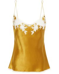 Carine Gilson Chantilly Lace-trimmed Silk-satin Camisole - Multicolour