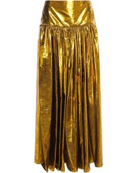 Stella McCartney Cynthia Gathered Silk-blend Lamé-jacquard Maxi Skirt Gold - Metallic
