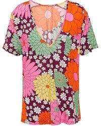 Dodo Bar Or Printed Stretch-jersey T-shirt Burgundy - Multicolour