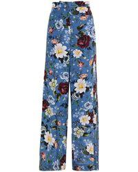 Erdem Floral-print Silk Crepe De Chine Wide-leg Trousers - Blue