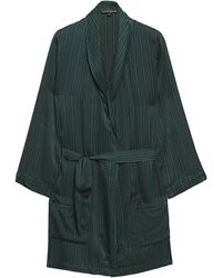 Love Stories Ritz Striped Satin Robe Dark Green