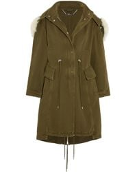 Alexander McQueen - Shearling-trimmed Cotton-twill Hooded Coat - Lyst