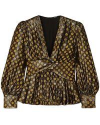 Dodo Bar Or Malenia Metallic Floral-jacquard Silk-blend Blouse