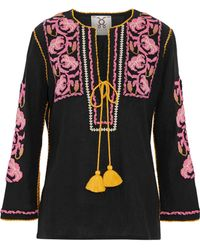 Figue - Woman Zoe Tie-front Embroidered Cotton-gauze Top Black - Lyst