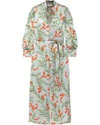 Seren London Olga Belted Floral-print Silk-satin Maxi Dress - Blue