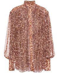 Zimmermann Gathered Leopard-print Silk-georgette Blouse Animal Print - Brown