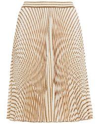Missoni Pleated Metallic Crochet-knit Skirt - Natural