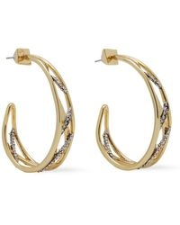 Alexis Bittar Gold-tone Crystal Hoop Earrings Gold - Metallic