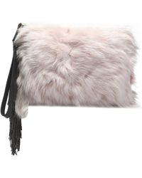 Brunello Cucinelli - Fringed Leather-trimmed Shearling Clutch - Lyst