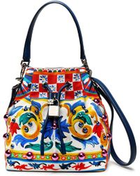 Dolce & Gabbana - Claudia Embellished Printed Canvas Bucket Bag - Lyst