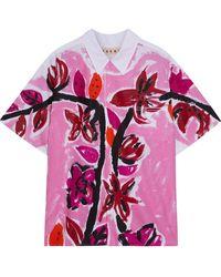 Marni Printed Cotton-poplin Shirt - White
