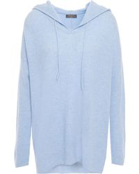 N.Peal Cashmere Ribbed Cashmere Hoodie Light Blue