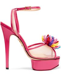 Charlotte Olympia - + Barbie® Pomeline Patent-leather And Mesh Sandals - Lyst