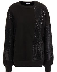 CLU Sequined Mesh-paneled French Cotton-terry Sweatshirt - Black