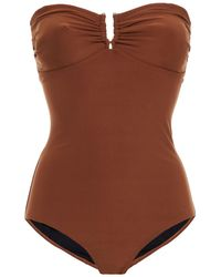 Gestuz Gathered Bandeau Swimsuit - Brown
