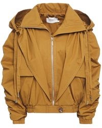 Zimmermann Layered Ruched Cotton-twill Hooded Jacket Mustard - Brown