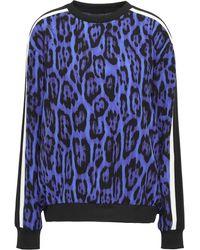 Just Cavalli Striped Leopard-print Stretch-crepe Sweatshirt Royal Blue
