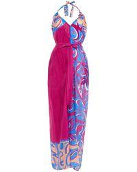 Emilio Pucci Gathered Printed Cotton And Silk-blend Voile Halterneck Jumpsuit Magenta - Multicolour