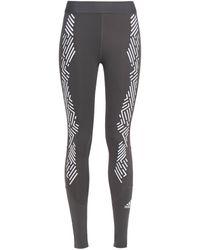 adidas - Cropped Printed Stretch Leggings Dark Gray - Lyst