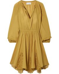 Apiece Apart - Vereda Broderie Anglaise-trimmed Gathered Cotton Mini Dress Mustard - Lyst