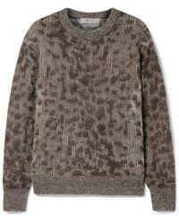 Sea Jacquard-knit Sweater Dark Brown