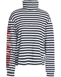 Love Moschino Striped Cotton-jersey Turtleneck Top - Blue