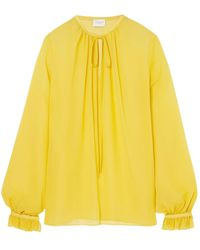 Giambattista Valli Gathered Silk-georgette Blouse - Yellow