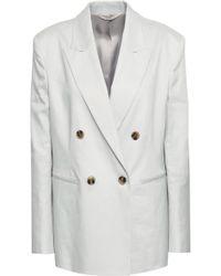Filippa K Double-breasted Linen-blend Blazer Light Grey - Gray
