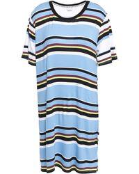 DKNY Striped Stretch-jersey Nightdress Light Blue
