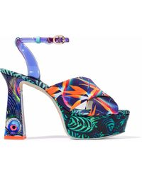 Sophia Webster Effie Tropical-print Platform Sandal - Blue