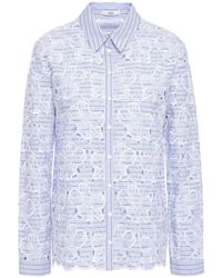 Erdem Striped Broderie Anglaise Cotton Shirt Light Blue