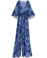 Matthew Williamson - Smocked Printed Silk Jumpsuit - Lyst