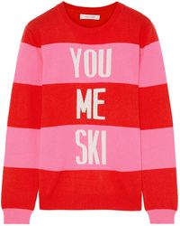 Chinti & Parker Striped Intarsia Wool And Cashmere-blend Sweater - Red