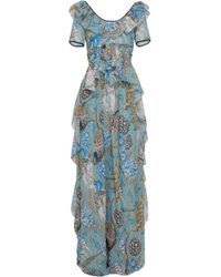 Temperley London Shire Ruffled Printed Fil Coupé Georgette Maxi Dress Teal - Blue