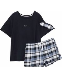 DKNY - Printed Jersey And Checked Flannel Pajama Set - Lyst