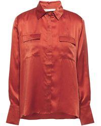 Maje Washed-silk Shirt Brick - Multicolour